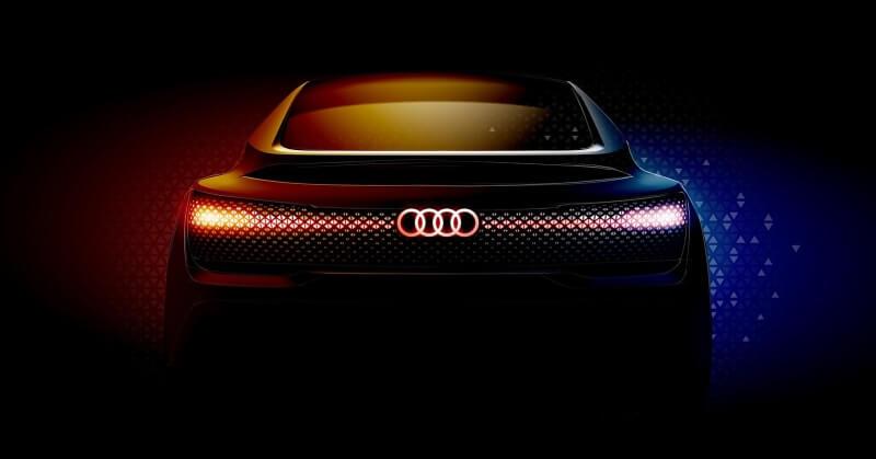 Világító Audi jel a sötétben